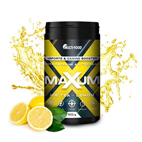Maxum eSports & Gaming Booster, Play at a level up | 650 g eSports Booster mit 65 Portionen | Made in Germany, Energy Drink mit hochdosiertem Coffein, L-Tyrosin und Isomaltulose (Ice Tea - Lemon)