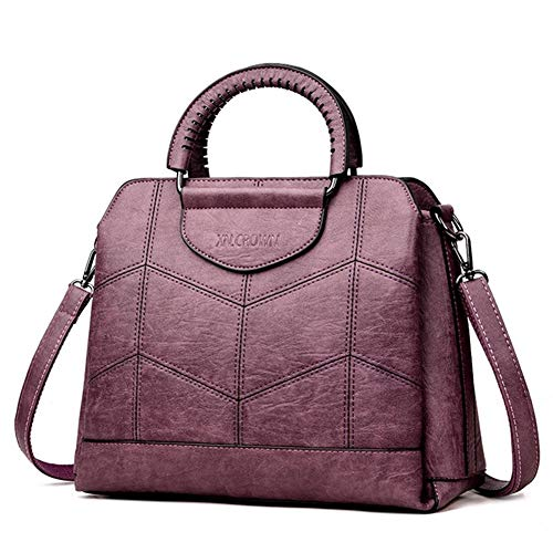 Tote Leather luxe handtassen vrouwen tassen designer handtassen van hoge kwaliteit Crossbody tassen for vrouwen een Main Ladies Handbag (Color : Purple)