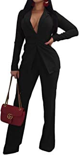 4a4421942 Jeanewpole1 Women Sexy 2 Piece Outfits Long Sleeve Slim Fit Blazer Jacket  with Long Pants Suit