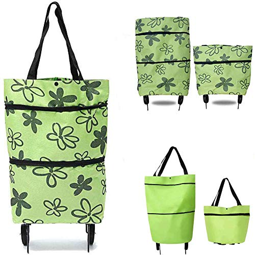 Carrito de la compra plegable 2 en 1 con ruedas, carrito de la compra con ruedas, bolsa de equipaje, bolsas reutilizables de 2 ruedas, flor verde de alta capacidad