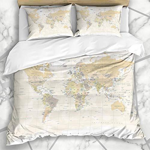 Juegos de fundas nórdicas Australia Detalle beige Mapa del mundo Vintage Alto detallado Continente Amarillo Físico Europa Plano Mapa del mundo Ropa de cama de microfibra con 2 fundas de almohada Cuida