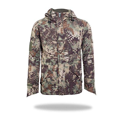 Neue Art-Mann-Multifunktionsaußen Jagd Camping Mäntel Soft Shell Camouflage Dicke Fleece-Innenjacke Hoodie Horseshoe Cuffs (Grüne Python, XL)