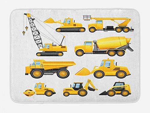 Ambesonne Nursery Bath Mat, Abstract Images of Construction Vehicles Machinery Trucks Bulldozer Crane, Plush Bathroom Decor Mat with Non Slip Backing, 29.5 X 17.5, Yellow Black