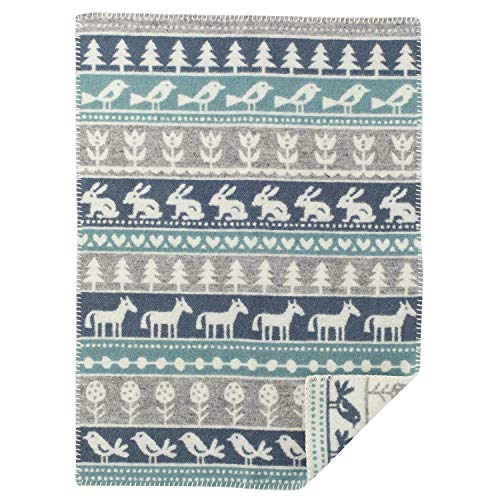 Klippan Nature Babywolldecke (Öko-Tex) 65x90 cm grau, weiß, dunkelblau, graublau