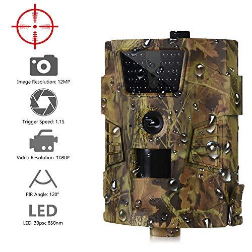 QWERTOUY HT-001B Hinterkamera 12MP 1080P 30pcs Infrarot-LEDs 850nm Jagdkamera IP54 wasserdichte 120-Grad-Winkel-Wildkamera