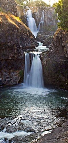 Türtapete Türposter selbstklebend – Wasserfall in den Bergen - 90x205cm und 100x210cm - Fototapete Poster Türfolie Tapete – T00128