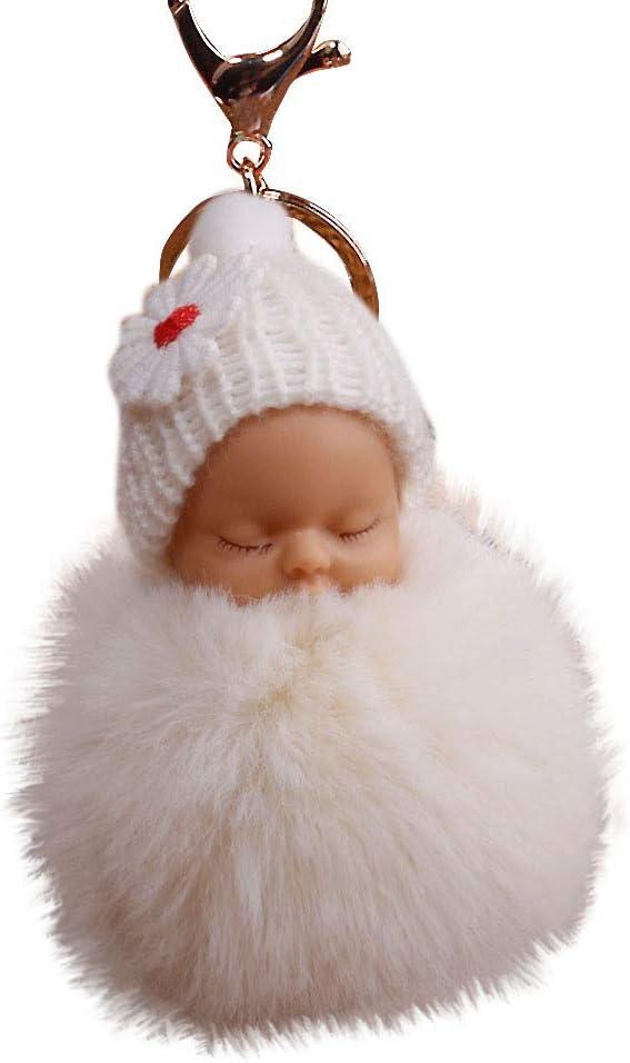 Yu2d Cute Fur Pompom Sleeping Baby Doll Key Chains Keyrings Bags Charm Pendant (Beige)