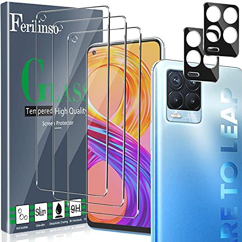 Ferilinso [5 Stück] 3 Stück Panzerglas Schutzfolie + 2 Stück Kamera Panzerglas Bildschirmschutzfolie für Realme 8/ Realme 8 Pro [Kompatibel mit Handy Hülle][9H Festigkeit] [2.8D Rand] [Anti-Kratzen]