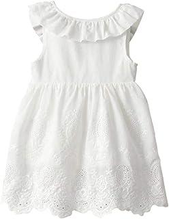 Domybest ワンピース ドレス 女の子 夏 半袖 キッズ 刺繍 お姫様 可愛い 子供服 海辺 誕生日 遊園地 結婚式 白 130cm