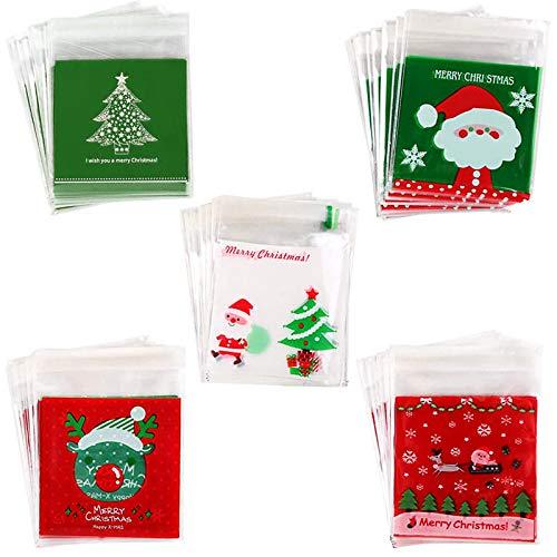 500PZ Bolsas de Celofán Transparente Plastico OPP, 5 Estilos Bolsas de Navidad 10x10+3cm Bolsas de Regalo Autoadhesivas Bolsas Pequeñas para Dulces Jabón Galletas Caramelo Bombones Regalos Boda Fiesta