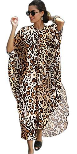 RanRui Vestido de playa con botones para mujer, Estampado de leopardo2, XXL