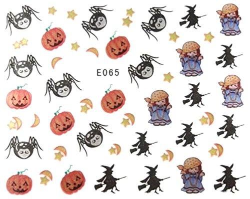 Générique Nail Art Autocollants Stickers Ongles: Décorations Halloween Citrouilles, sorcières étoiles lunes araignées