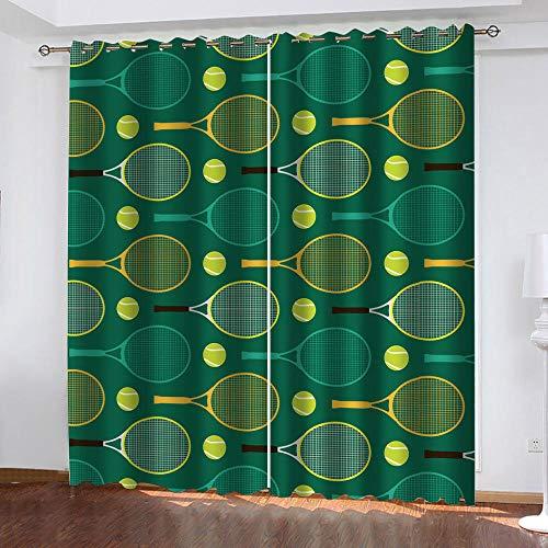 WXSSLN 3D Impresión Cortina Opacas Raqueta de bádminton y Verde Cortinas Opacas de Salon Dormitorio Aislantes Termicas con Ollaos 2 Paneles 140x175cm(An x Al)