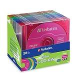 Verbatim CD-RW 700MB 2X-12X Color Rewritable Media Disc - 20 Pack Slim Case - 96685,assorted