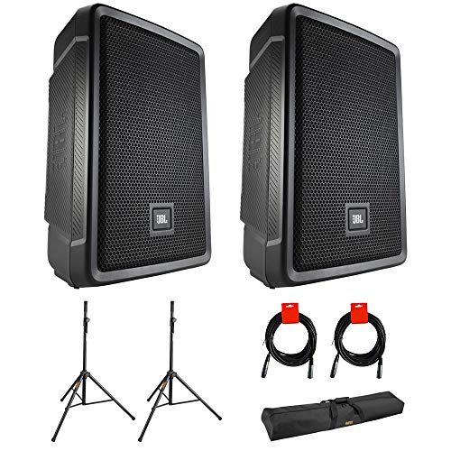 JBL IRX108BT Compact Powered 8' Portable Speaker, Bluetooth (Pair) Bundle with 2x Speaker Stand, 2x XLR Cable & Stand Bag