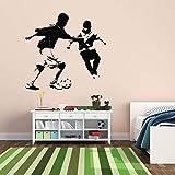 Dos niños juegan fútbol Jugador fútbol Pegatinas de Pared para guardería...