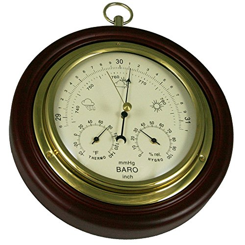 Ambient Weather WS-M0921THB 8 Cherry Finish Tan Dial Traditional Barometer with Temperature and Humidity