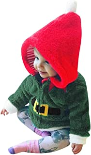 ZOELNIC Baby Girls Boys Christmas Clothes Toddler Girl Boy Fleece Hooded Tops Coat Pullover Outfits