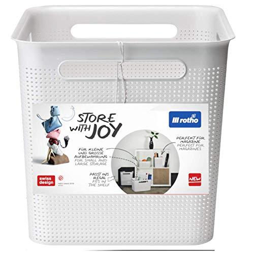 Rotho Brisen Aufbewahrungsbehälter 18 l, Kunststoff (PP), Weiß, 18 Liter (29 x 29 x 28 cm)