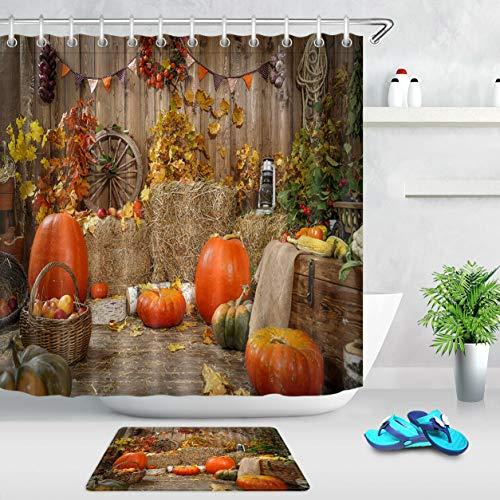 xuelizhou Autumn Hay Pumpkins Halloween Badkamerset douchegordijn grootte: 180X180cm badkamermat grootte: 60X40cm