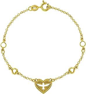 """925 Sterling Silver Dove Heart Holy Spirit Religious Bracelet for Teens 6.5"""""""