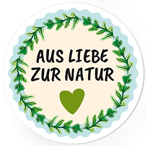 48 runde Design Etiketten - AUS LIEBE ZUR NATUR - Aufkleber ökologisch, umweltbewusst, vegan, vegetarisch, Naturprodukt