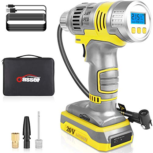Oasser 20V Tire Inflator Portable air Compressor, Cordless Air Inflater, 12V 2000mAh Handheld Car Tire Pump Electric Mini Inflator with Rechargeable Battery USB Cable Digital Pressure Gauge (Yellow)