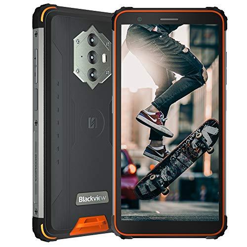 Blackview BV6600 (2021), Teléfono Móvil Resistente Android 10 4G de 5,7', 4 GB de RAM, 64 GB de ROM, Expansión de 128 GB, Cámara 16 MP + 8 MP, Batería de 8580 mAh, Dual SIM NFC GPS FM Naranja