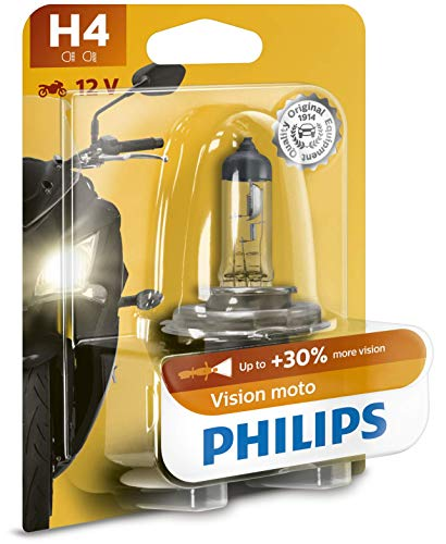 Philips 12342PRBW Vision Moto H4 Motorrad-Scheinwerferlampe, 1er Blister