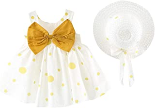 Moika Baby Girl Princess Dresses for 0-24 Months, Toddler Kids Sleeveless Floral Bow Print Birthday Gift Holiday Beach Party Wedding Cute Pageant Summer Dress + 1 Hat