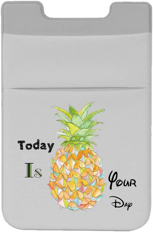 lenoup Stretchy Pineapple Stick on Cell Phone Wallet,Cell Phone Card Holder Summer Style Phone Pocket for Credit Card, Business Card ID and Keys
