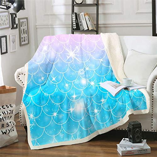 Manta de felpa con diseño de escamas de sirena para niñas, diseño de escamas de peces de lujo, manta de forro polar para sofá, cama, decoración de habitación, suave y mullida, 127 x 152 cm