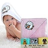 Bisoo - Set de Baño 4 Piezas - Toalla Bebé con Capucha 80x80 cm y 3 Paños 30x30 cm – 100% Algodón Turco Súper Absorbente y Ultra Suave - Regalo Original Recién Nacido Embarazada Baby Shower (Rosa)