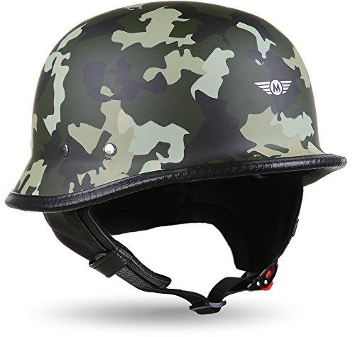 "Moto Helmets® D33 ""Army Woods"" · Brain-Cap · Halbschale Jet-Helm Motorrad-Helm Roller-Helm Scooter-Helm Bobber Mofa-Helm Chopper Retro Cruiser Vintage Pilot · Schnellverschluss Tasche L (59-60cm)"