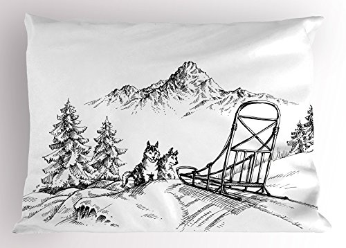 Alaskan Malamute Pillow Sham by Ambesonne, Mountain Landscape in Winter Sledding Dogs Pine Trees Wilderness Art, Decorative Standard Size Printed Pillowcase, 26 X 20 Inches, Black and White