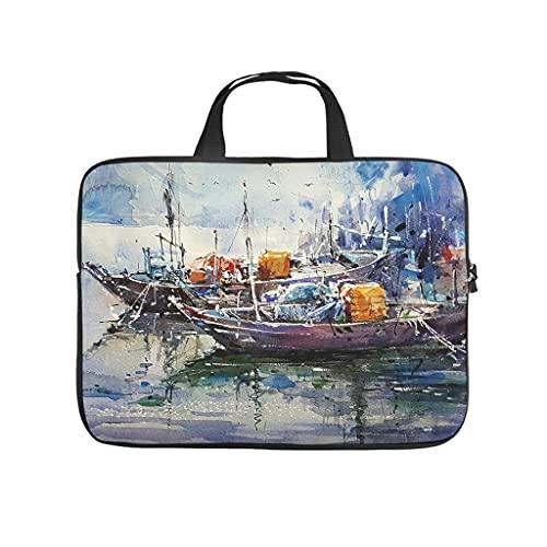 Facbalaign Funda para portátil de pintura de acuarela, barco en el mar, portátil, resistente a los arañazos, con asa.
