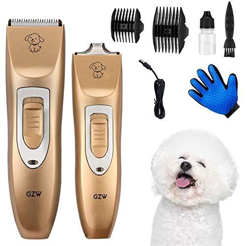Cortapelos para Perro, Máquina Inalámbrica y Recargable Corte de Pelo para Mascotas, Perros, Gatos, Bajo Ruido y Vibración, recortar el pelo de animales patas, ojos, orejas, la cara, la grupa