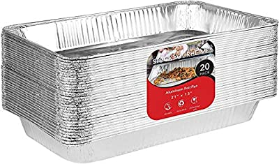 21x13 Aluminum Pans Durable Full Size Deep Aluminum Foil Roasting & Steam Table Pans - Disposable Pans Great for Cooking, Heating, Storing, Catering, Prepping Food