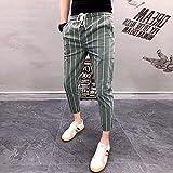 Txrh Moda Casual Pantalones Delgados de los Hombres Pantalones a Cuadros Pantalones Casuales Pantalones de lápiz Afilado Moda (Color : 3, Size : Asia Size 27)