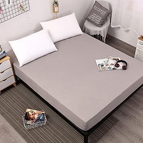 DSman Funda de colchón Anti chinches, Transpirable, Sábana Impermeable a Prueba de orina Pure Color-Grey_200cmX220cmX30cm