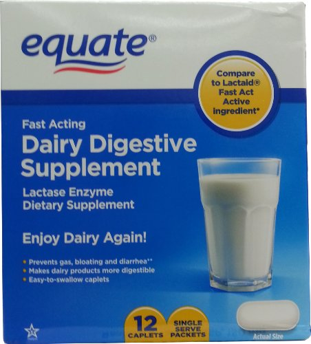 Equate - Dairy Digestive Supplement, 12 Caplets, Lactase Enzyme, Compare to Lactaid Fast Act