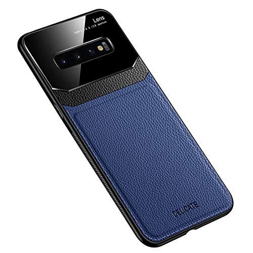 Funda Compatible con Samsung Galaxy S10 Plus, Carcasa Ultra Delgado De Piel PU y Silicona Suave TPU Cover Case Carcasa para Galaxy S10+, Azul
