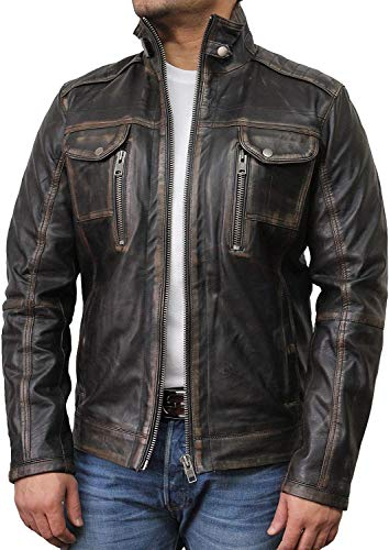 BRANDSLOCK Mens Genuine Leather Biker Jacket Vintage Distressed (Large fits 40-42 inches, Black)