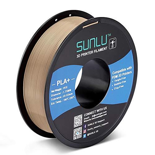 SUNLU PLA Plus 3D Filament 1.75mm for 3D Printer & 3D Pens, 1KG (2.2LBS) PLA+ Filament Tolerance Accuracy +/- 0.02 mm, Wood