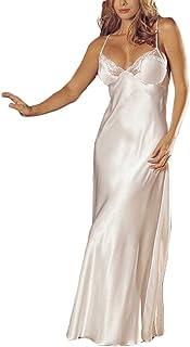 Pingtr Night Dress Women Women's Long Nightdress Full Length Nightwear Lace Trimmed Sleepwear Ladies Nightie Chemise Negligee