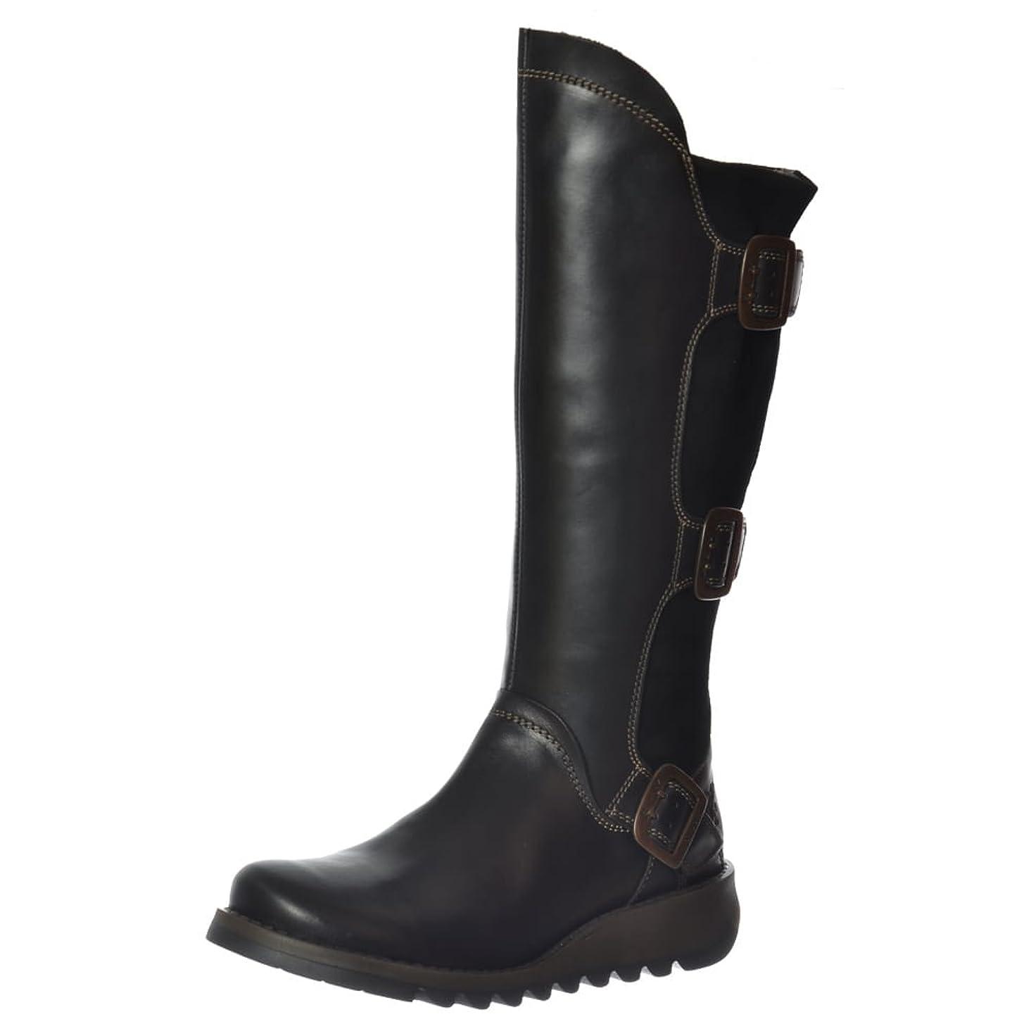 サバント気まぐれな汚染する[FLY London] SyndブラックレザーレディースKnee Hi Boots