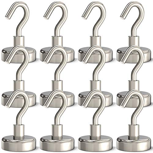 GREATMAG Magnetic Hooks Heavy Duty, 35 lbs Magnets with Hooks for Hanging, Magnet Hooks for Cruise, Grill, Fridge, Kitchen Pack of 12