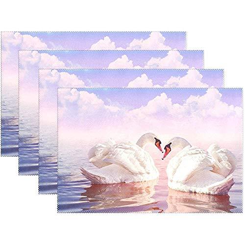 Puesta de sol hermoso cisne blanco en el lago mantel mantel de mesa mesa de poliéster mantel para cocina comedor conjunto de 6,12x18 pulgadas