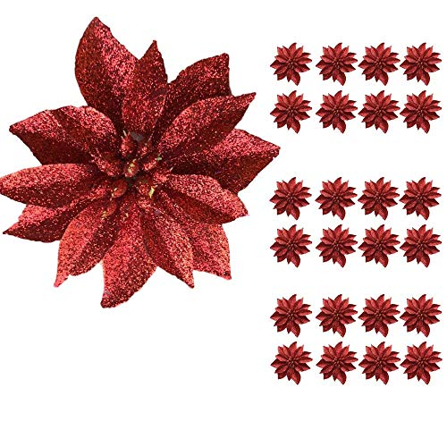 """BANBERRY DESIGNS Artificial Poinsettia Flowers - Set of 24 – 3 ¾"""" Red Glittered Poinsettia Clip On Ornaments - Christmas Decorations - Decorative Floral Accessories"""