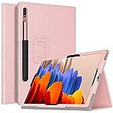 TiMOVO Funda Compatible con All-New Samsung Galaxy Tab S7 Plus 12.4 Inch Tablet 2020 (SM-T970/T975/T976), PU Cuero Ultra Slim Funda Función de Soporte Plegable (Auto Sueño/Estela) - Oro Rosa